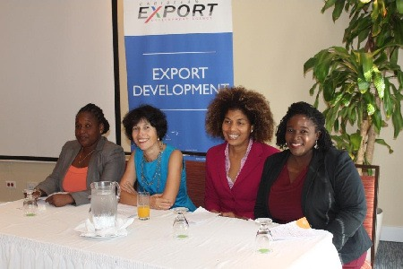 L-R: Ms. Allyson Francis - Services Specialist, Caribbean Export, Mrs. Silvia Koffler - Chargé D'Affairs,  Delegation of the European Union to Barbados and the Eastern Caribbean, Ms. Marjorie Straw - Manager, Special Projects JAMPRO, Jamaica and Ms. Julianne Jarvis - Project Implementation Officer, Antigua & Barbuda Coalition of Services Industry